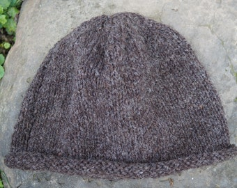 Hat hand knit roll brim brown heather wool mountain hat adult size