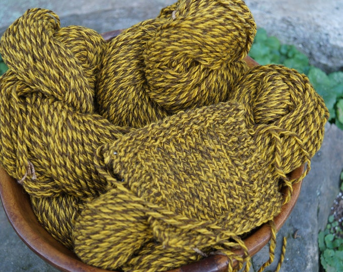 Gold Ragg wool 3 ply worsted weight yarn from our USA farm