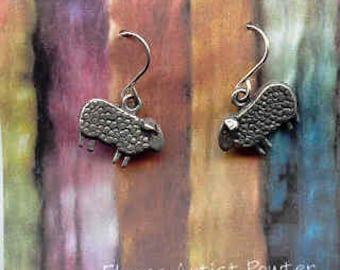 Earrings: Baa Baa wire pewter sheep earrings