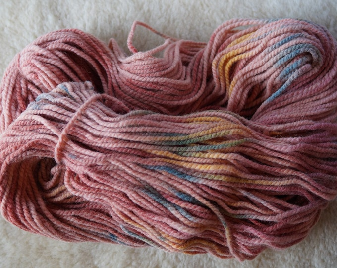 Pink Yellow Blue bulky 2 ply hand painted soft wool yarn from our American farm, free shipping