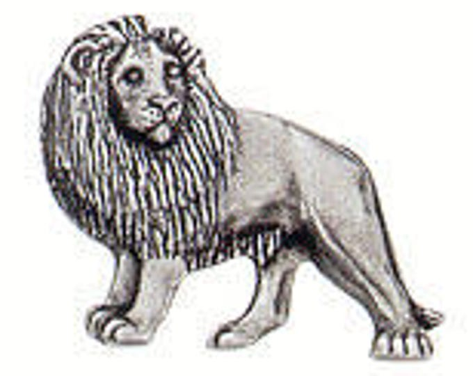 Danforth Button: Lion  pewter shank button