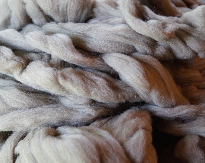 CVM Romeldale wool roving, soft light brown gray color, sale price