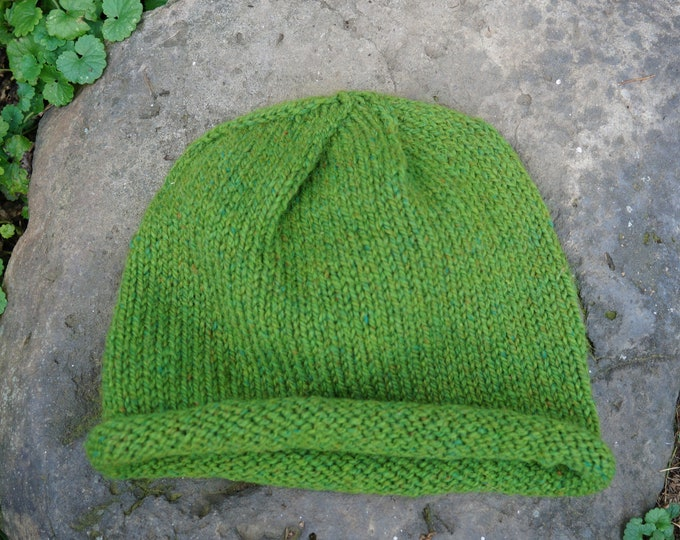 Green mountain hat adult wool & mohair hand knit made in the USA on our farm