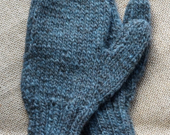 Hand knit and dyed blue gray mittens lg child or sm ladies. Yarn from our American farm.