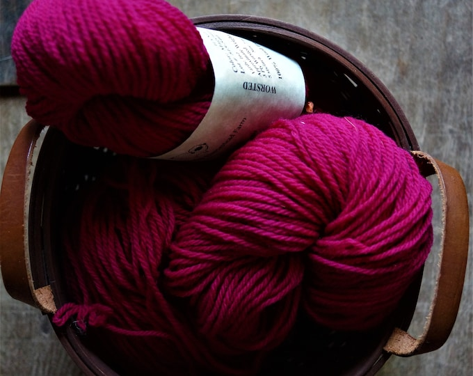 Magenta worsted wool hand dyed yarn from our American farm
