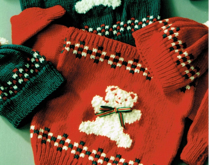 Country's Child pattern teddy bear sweater NEED A HUG? kids uses worsted weight yarn