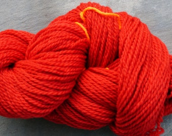 Apple Red farm raised yarn 2 ply worsted wool yarn 220 yard skein