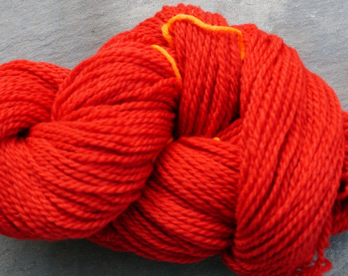Apple Red  2 ply worsted soft wool yarn kettle dyed 220 yard skein farm raised American wool, free shipping