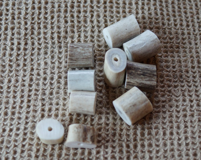 Horn Button: Antler Beads set of 10 Made in the USA