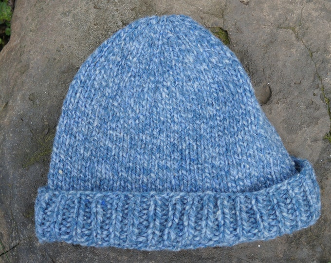 Blue tweed hat wool adult hand knit 100% American wool