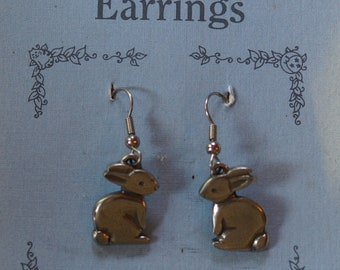 Danforth Bunny wire pewter earrings, made in the USA