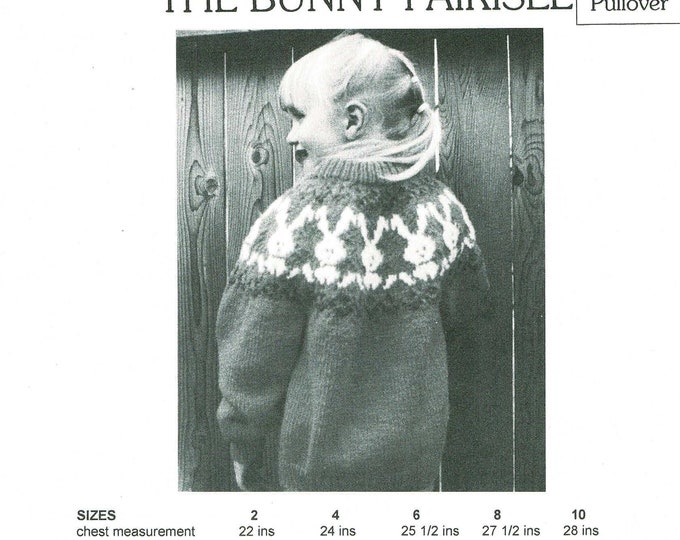 E-130 Bunny Fairisle childs knitting pattern from eweCanknit