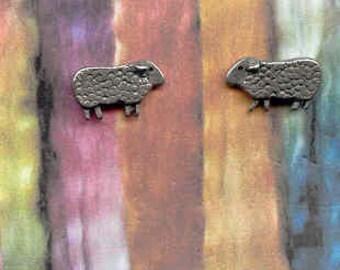 Earrings: Mini Baa Baa Sheep pewter post earrings