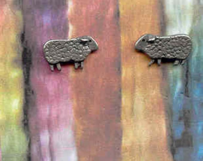 Earrings: Mini Baa Baa Sheep pewter post earrings