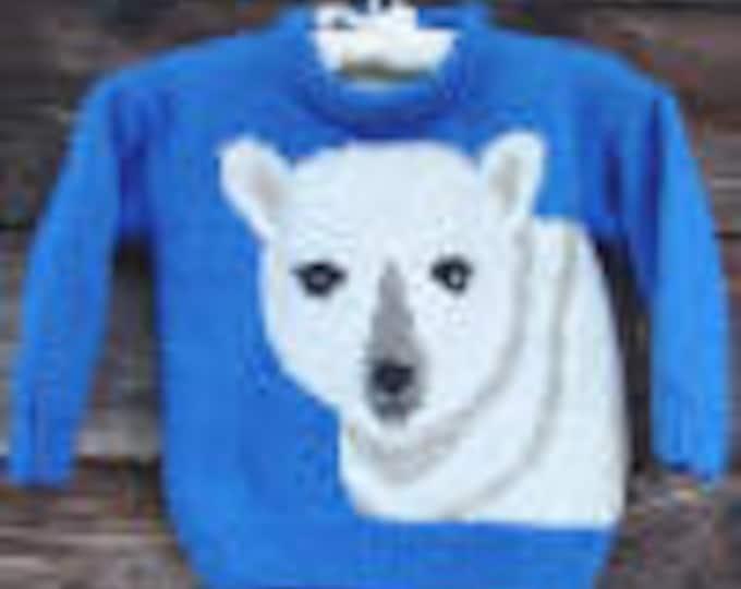 eweCanknit 090 Polar Bear knitting pattern childs sizes 2-8 using worsted weight yarn