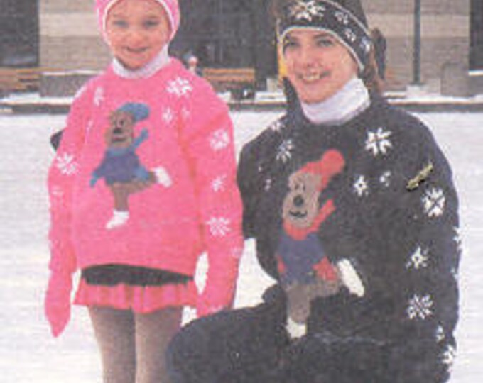 Ewe Can knit The Skating Bear knitting pattern on kids 4-10 and adult S-XL