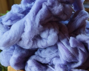 Light Lavender Wool roving kettle dyed. For spinning or felting from our USA farm.