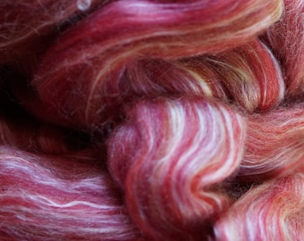 Pomegranate wool-Silk Roving 4 oz. bag from Ashford to spin or felt