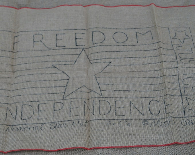 Hooked Rug stamped canvas: Memorial Star Mat 14 inches by 31 inches stamped on burlap