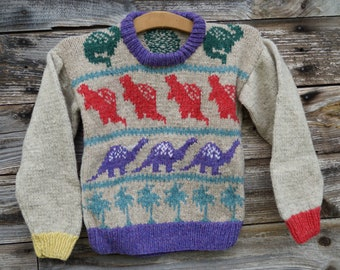 Childs wool sweater Dinosaur  hand knit  USA wool, free shipping USA