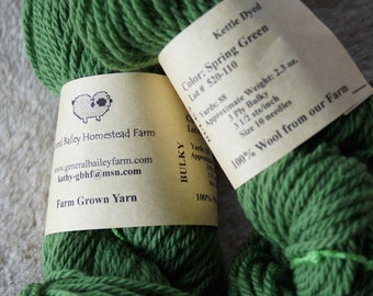 Spring Green 3 ply bulky wool yarn from our USA farm