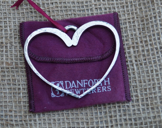 Open Heart Christmas ornament from Danforth Pewterers. Made in the USA