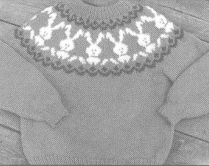 eweCanknit Bunny Fair Isle knit sweater pattern child sizes 2-8 uses worsted weight yarn