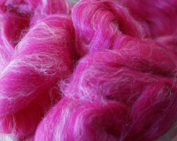 FUCHSIA Silk and Wool roving 8 oz bag to spin or felt