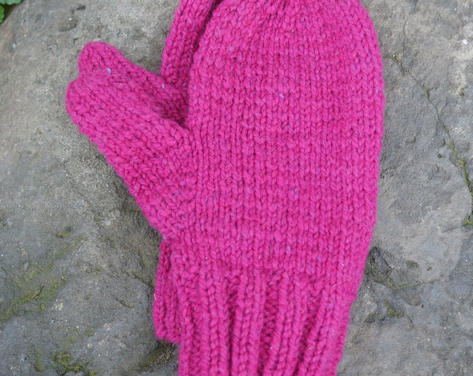 Hot Pink Ladies soft wool and mohair handknit mittens