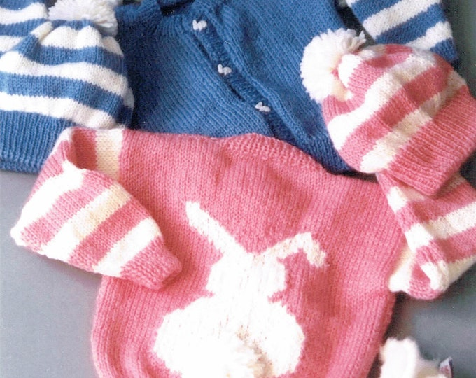 Country's Child Cottontail bunny cardigan and hat knitting pattern 6 months to 6 years