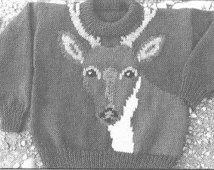 eweCanknit The White-Tailed Deer knitting pattern child sizes worsted weight yarn