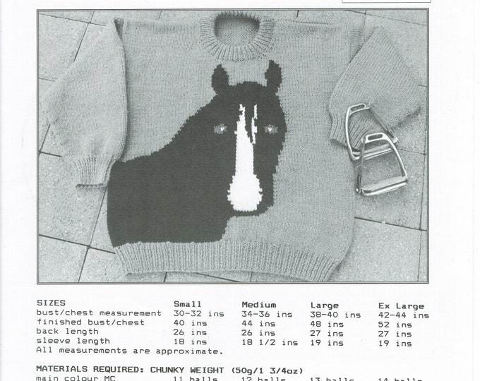 eweCanknit The Horse adult's  pullover knitting pattern uses bulky or chunky weght yarn