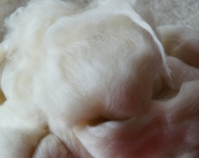 Finn wool top for spinning or felting, undyed natural white, soft