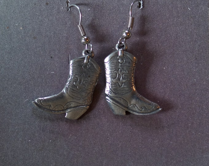 Danforth Cowgirl wire pewter dangle earrings, made in the USA