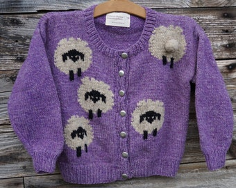 Childs wool sheep cardigan sweater, free shipping, hand knit on our farm American wool