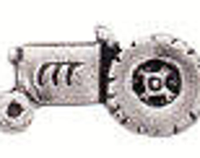 Danforth Button: TRACTOR  pewter shank button