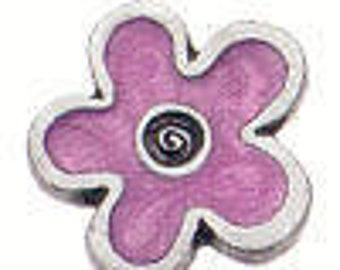 Danforth Button: Pink Enamel Flower shank pewter button