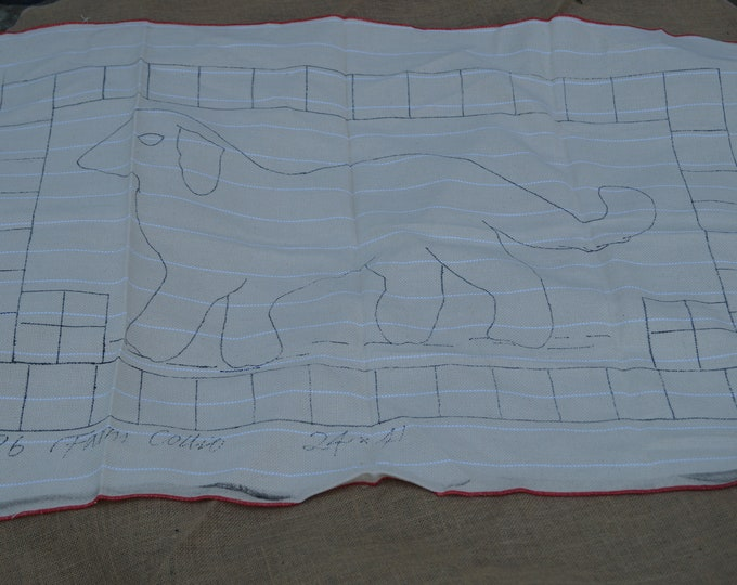 Hooked rug stamped canvas: Farm Collie rug hooking stamped backing on monk's cloth