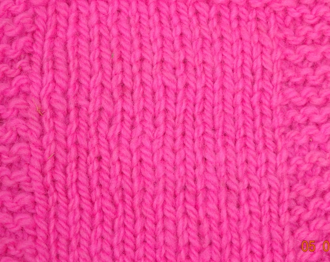 worsted weight yarn: Neon Pink worsted wool yarn 230 yd skein from our farm