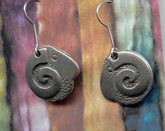 Earrings: Rams Head pewter wire earrings