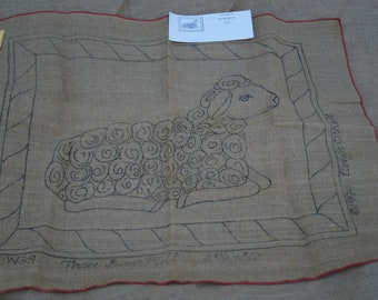 Hooked Rug stamped canvas: Three Bags full sheep rug stamped burlap hooked rug backing
