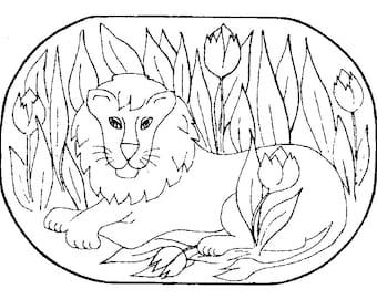 Stamped rug backing:  The Lion design stamped on burlap