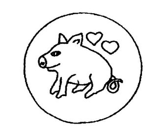 Rug Hooking stamped backing: Clerence the Pig seat cover 15 inch round on burlap