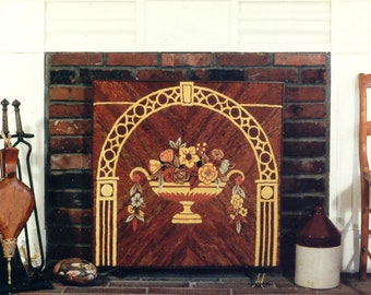 Hooked Rug  Stamped Canvas: Art Deco Fireboard on linen