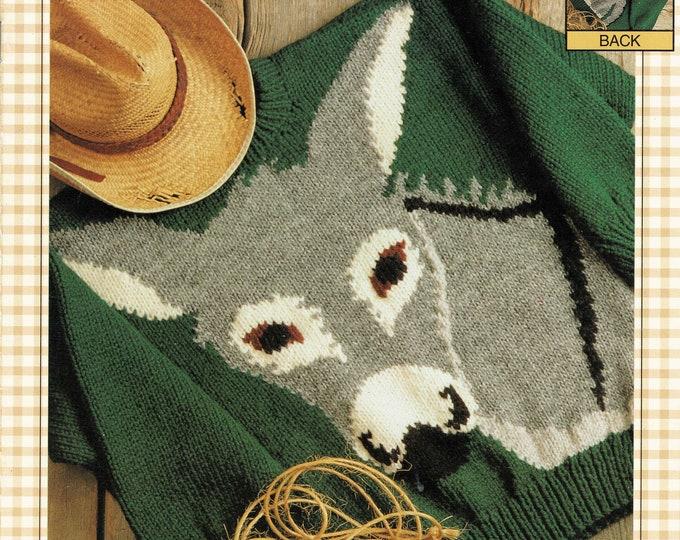 Bernat pattern book: The Donkey knitting sweater patterns family sizing from eweCanknit