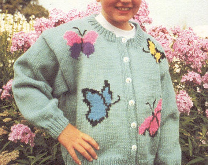 eweCanknit pattern 160: Butterfly cardigan kniting pattern children's sizes 2-10 uses worsted weight yarn