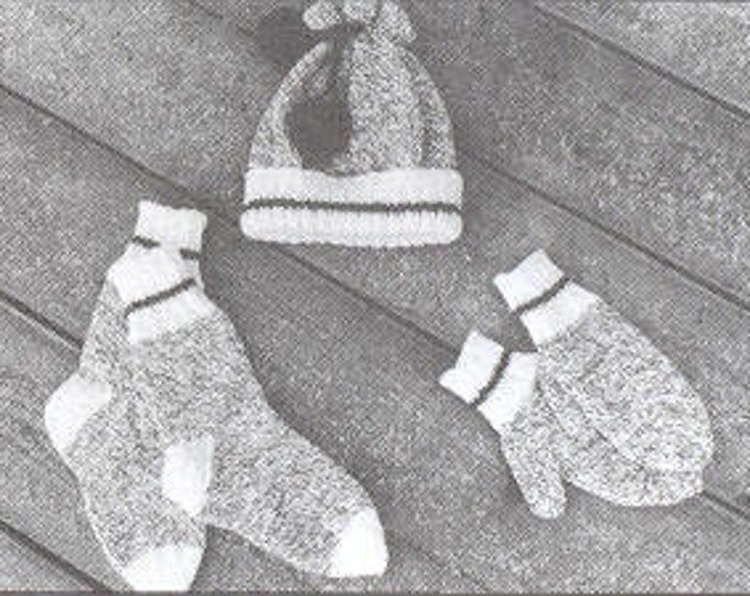 eweCanknit pattern 117: Adult knit hat, socks and mittens using worsted weight yarn