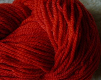 Apple Red bulky 2 ply soft wool yarn from our American farm, free shipping offer
