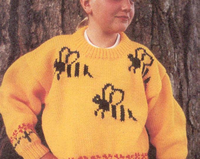 eweCanknit Pattern 161: Bumblebees cardigan sweater knitting pattern child's sizes 2-8 uses worsted weight yarn