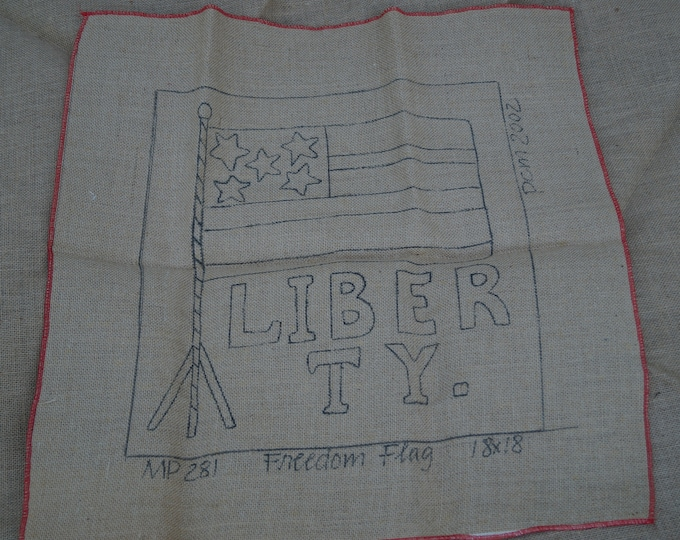 Rug Hooking Stamped Backing: Freedom Flag stamped rug hooking backing 18 inches by 18 inches on burlap